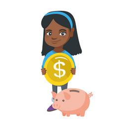 African girl putting a coin into a piggy bank vector