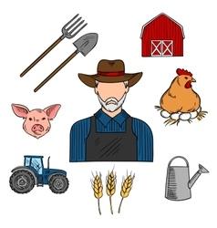 Agriculture or livestock farmer sketch symbol vector