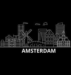 amsterdam silhouette skyline netherlands vector image