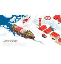 arctic research polar station poster vector image