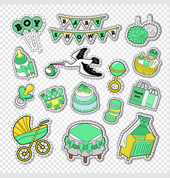Baby shower decoration set with boy toys vector