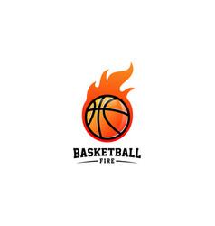 Basketball fire logo design vector