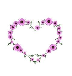 Beautiful Pink Daisy Flowers in Heart Shape vector