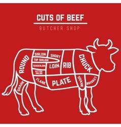 Beef cuts diagram vector image