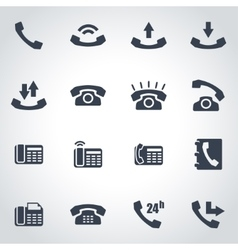 black telephone icon set vector image
