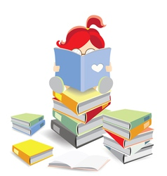 bookworm sitting on a stack of books vector image