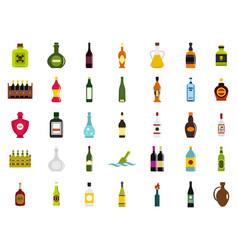bottle icon set flat style vector image