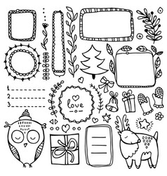 bullet journal hand drawn elements vector image