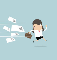 businesswoman running away from tax invoice vector image