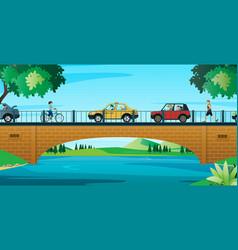 car running on bridge vector image