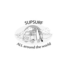 car with sup surf board logo vector image