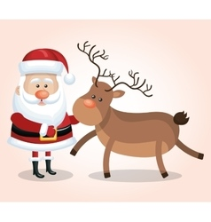 card santa claus big reindeer christmas design vector image