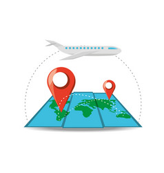 Cargo airplane and map with different locations vector