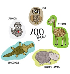 Cartoon zoo set vector
