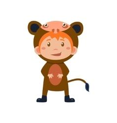 Child Wearing Costume of Monkey vector