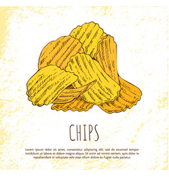 Chips pile isolated on white background banner vector