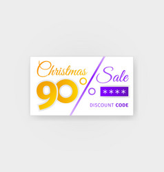 Christmas sale 90 percent discount coupon vector