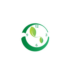 clock with leaves as clockwise symbol to save vector image