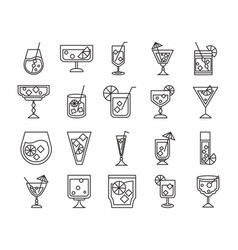 cocktail icon liquor refreshing alcohol glass cups vector image