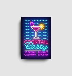 cocktail party poster neon summer party vector image