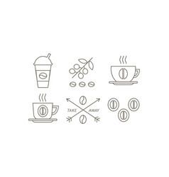 coffee line icons set takeaway coffee paper cup vector image