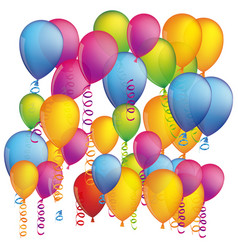 colorful background with flying balloons and vector image