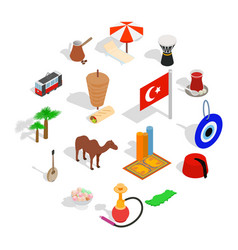 country turkey icons set isometric 3d style vector image