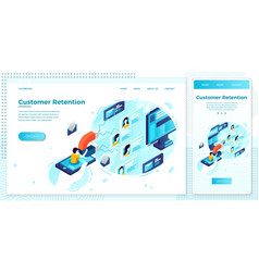 customer retention man work with magnet vector image
