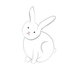 cute baby bunny cartoon hand drawn vector image