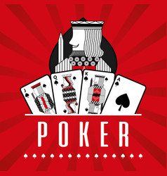 Deck of card casino poker king spade red rays vector