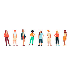 Different races women standing in casual cloth vector