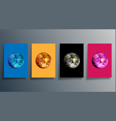 disco ball in various colors set mirrorball vector image