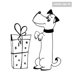 dog with present vector image