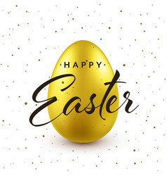 easter background with realistic golden egg vector image