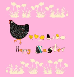 Easter beautiful chicken and cute chicks vector image