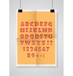 English alphabet Twice a folded orange poster vector