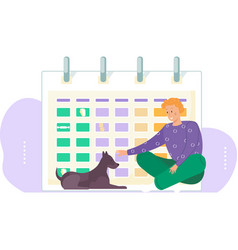 Feeding pet on a timetable the dog lies vector