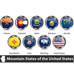 Flags mountain states region us vector