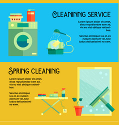 Flat cleaning service banners vector