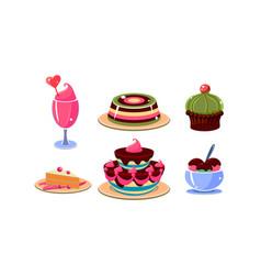 flat set various tasty desserts jelly vector image