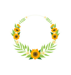 floral wreath with sunflowers circle frame vector image
