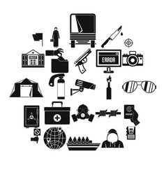 gaffe icons set simple style vector image