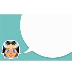 Girl face with speech bubble vector image