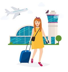 Girl standing with travel bag holding passport and vector
