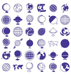 globe earth icons on white vector image