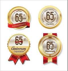 golden badge anniversary collection 65 years vector image