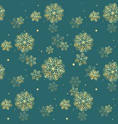 golden glittering snowflakes seamless pattern on vector image