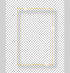 Golden shiny vintage square frame isolated on vector