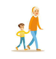 Grandmother walking with boy holding hands part vector