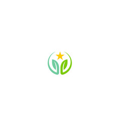 green leaf round star logo vector image